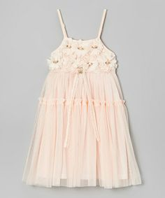 Peach Flower Bodice Long Dress - Toddler & Girls