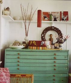 Green drawers for all my doodles and papers.