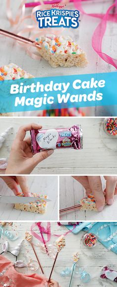 Make magic at your kid's next birthday party by turning NEW Birthday Cake #RiceKrispiesTreats into yummy magic wands. They're the tasty #PartyFavors that are easier to make than saying abra cadabra! #PartyIdeas #PrincessParty #BirthdayCake #ConfettiCake
