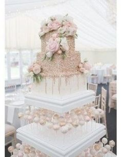 Real wedding: a romantic day at Chippenham Park with a Pronovias wedding dress - Gallery Image 12 - White and rose gold wedding cake with cake pops Wedding Cake Roses, Beautiful Wedding Cakes, Elegant Wedding, Perfect Wedding, Beautiful Cakes, Wedding Cupcakes, Trendy Wedding, Luxury Wedding, Elegant Bride