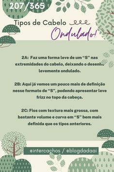 Tipos de Cabewlo #ondulado Words, Factors, Hair Type, Tips, Horse