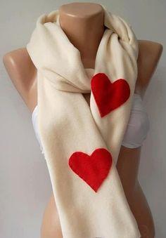LOVE - Valentine's Day Scarves  - Super elegant scarf /shawl long scarf...Beige - red heart.... $22.00, via Etsy.