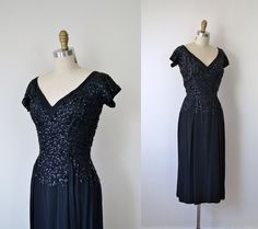 "1940s Dress / 40s Sequin Rayon Dress / Frank Starr. $135.00, via Etsy. adult ""dressy"" party/dinner, if needed."