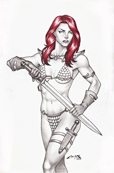 RED SONJA BY ARTIST CARLOS AUGUSTO - ART PINUP Drawing Original COMC #PopArt