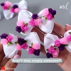 Diy Lace Ribbon Flowers, Ribbon Flower Tutorial, Hair Bow Tutorial, Ribbon Bows, Fabric Flowers, Diy With Ribbon, Ribbon Hair Clips, Lace Bows, Ribbons