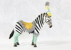 Party Animal Bernard The Zebra - painted carnival, circus, birthday decor