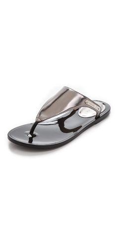 fdd72ee09a6 These Rachel Zoe Black Silver Cami Metallic Flip Flop Sandals Size US 8  Regular (M