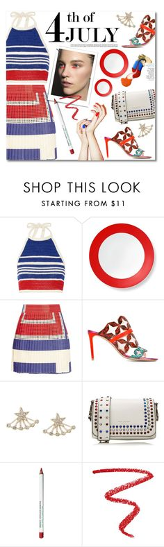 """""""4th of July"""" by watereverysunday ❤ liked on Polyvore featuring Vika Gazinskaya, B by Brandie, SUNO New York, Nicholas Kirkwood, Lipsy, Marc Jacobs, Obsessive Compulsive Cosmetics, NARS Cosmetics, redwhiteandblue and july4th"""