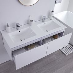 The Milano Oxley double vanity unit has plenty of space for all your bathroom essentials White Vanity Unit, Double Vanity Unit, Bathroom Vanity Units, Wall Mounted Vanity, Bathroom Vanities, Bathroom Basin, Modern Vanity, Modern Bathroom, Loft Bathroom