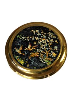 vintage powder compacts | Vintage 1950s Hand Painted Powder Compact