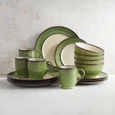Pier 1 Imports Fern Reactive Rim 16-Piece Dinnerware Set ($90) ❤ liked on Polyvore featuring home, kitchen & dining, dinnerware, green, casual dinnerware sets, handmade stoneware dinnerware sets, green dinnerware sets, stoneware dinnerware and everyday dinnerware sets