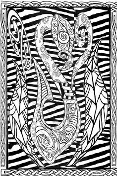 Te Manaia with added Celtic designs;Lousephyr©2015