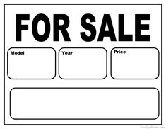 free printable car for sale sign things to wear pinterest cars