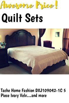 Tache Home Fashion DXJ109042-1C 5 Piece Ivory Velvet Magic Carpet Super Soft Bedspread Quilt Set, California King, Tan #quiltsets