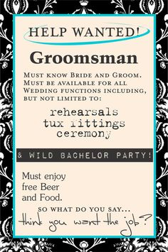 will you be my groomsman | Groomsman Beer Bottle and Wine Labels