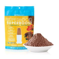 SuperFood SuperBoost: Super-boost your NutriBlasts with this unique combination of 4 outstanding superfoods - cacao, chia, maca, and goji berries.