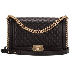 Preowned Chanel Black Quilted Calfskin  Medium Boy Bag ($6,900) ❤ liked on Polyvore featuring bags, handbags, black, chanel handbags, strap purse, calfskin handbag, quilted handbags and pre owned purses