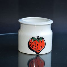 Japanese China, Coffee Service, Coffee Cups And Saucers, Design Department, Jam Jar, Strawberry Jam, Tutti Frutti, Black Spot, Ceramic Artists