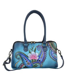 Another great find on #zulily! Denim Paisley Floral Hand-Painted Leather Satchel #zulilyfinds