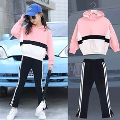 Girls Clothes Sets Autumn Children's Clothing Set Sweatshirt + Pants Two-piece Casual Kids Sport Suits Teenage 6 8 9 10 12 years , Teenage Girl Outfits, Girls Fashion Clothes, Dresses Kids Girl, Cute Girl Outfits, Kids Outfits Girls, Cute Outfits For Kids, Girly Outfits, Fashion Kids, Fall Outfits