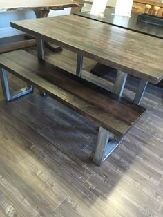 Rustic Maple Table With Raw Steel Base