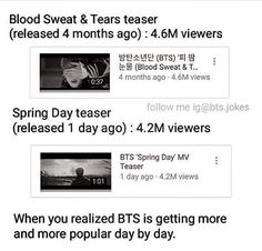 BTS is getting more and more popular. Those times when it's hard to gain even 1M views. Now, 4M a day?! Wow.