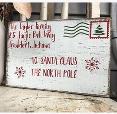 Letter to Santa wooden block This adorable Christmas display block is the perfect size to set on any table, counter or shelf. -Each product is hand sanded, stained, hand painted and distressed to achieve its rustic finish. -Please add personalized family name & city/state in details at