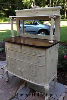 French countryside sideboard painted in Versailles and stenciled to perfection! Yellow Painted Furniture, White Distressed Furniture, Distressed Painting, Chalk Paint Furniture, Custom Furniture, Furniture Refinishing, White Furniture, Furniture Ideas, Repurposed Furniture