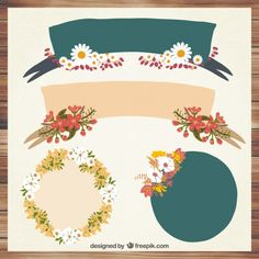 Floral labels collection Free Vector