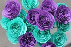 12 Teal Purple Paper Roses - Wedding - Bridal - Grad Party - Baby Shower - Her Birthday - Unique Ce Baby Shower Purple, Purple Baby, Turquoise And Purple, Aqua, Rose Wedding, Purple Wedding, Wedding Colors, Wedding 2017, Wedding Veils