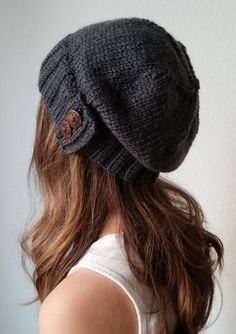 Knit slouchy hat with button s - CHARCOAL GRAY (more colors available -  made to order) 09caa0a068f
