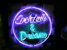 LOGO REAL GLASS NEON LIGHT BEER PUB BAR SIGN Cocktails and Dreams T820