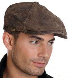 Stetson McCook Vintage Distressed Leather Newsboy Cap Oversized BROWN 6 panel #Stetson #FlatCap