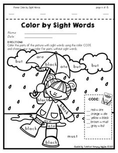 Color by Sight Words PLUS Sentence