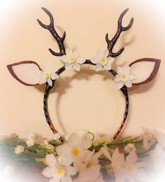 ***This listing is for the small fawn size antlers only.*** Very cute, original, fawn deer antler headband with flower decorations. Small white