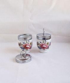 Vintage Egg Coddler Egg Cup Royal Worcester Porcelain Bournemouth Pattern Cabbage Roses 80s