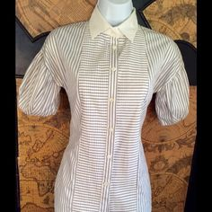 Valentino Red striped pleat button top sz 40 Valentino Red striped pleated blouse, size 40, collar, button front closure, cotton, short puff sleeves, mint condition, just dry cleaned and ready to wear. Valentino Tops Button Down Shirts