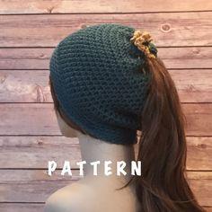Runner's Beanie Hat Pattern, Ponytail Hole Hat, Crochet Hat PATTERN, Basic Beanie by CrochetByMichele on Etsy