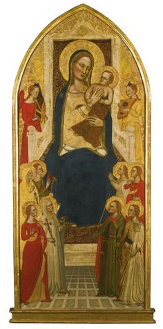 Jacopo di Cione, documented in Florence 1365 - 1398, THE MADONNA AND CHILD ENTHRONED WITH MUSIC-MAKING ANGELS AND VIRTUES