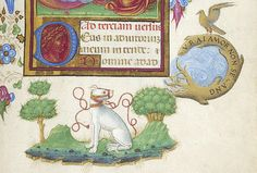 Magi: Adoration, detail—dove perching on circular branch inscribed VRAI AMOR NON SE CANG; and muzzled white dog, seated, flanked by two trees | Book of Hours | Italy, probably Milan | ca. 1470 | The Morgan Library & Museum