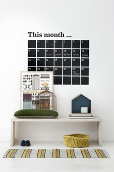 ferm living wall sticker shop for www wallstickers fra stil Diy Calendario, Home Office Accessories, Wall Planner, Monthly Planner, Home Organisation, Organization, House Doctor, Furniture Design, Sweet Home