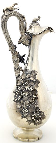 Century European Sterling Silver Presentation Pitcher (Possibly South African). Adorned with applied grapes and leaves.