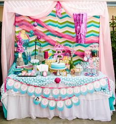 Kenna of Miss Party Momdesigned this dessert table for a very lucky mermaid-loving girl's birthday. With all the sparkles and glitter, this is like a little girl's dream! We love the pink, purple and aqua palette, the fish scale mermaid cake, and the shell and mermaid cake pops! Other sweets on the dessert table included …
