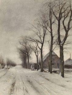 """Louis Apol : """"Winter Landscape with a Farm on an Avenue"""" (c. - The Ibis Louis Apol : """"Winter Landscape with a Farm on an Avenue"""" (c. Winter Painting, Winter Art, Winter Road, Cozy Winter, Winter Drawings, La Haye, 12 Image, Dutch Painters, Winter Landscape"""
