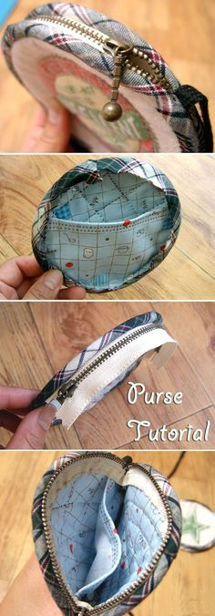 Coin Purse Pattern Zipper. DIY tutorial in pictures. Кошелек-монетница на молнии.  http://www.handmadiya.com/2015/10/zippered-coin-purse-tutorial.html