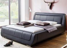 "Bed Frame ""Modena"" in Leather – Josy Furniture Bedroom Lamps Design, Bed Headboard Design, Headboards For Beds, Bed Design, Leather Bed Frame, Solid Wood Bed Frame, Sofa Furniture, Furniture Design, Furniture Makeover"