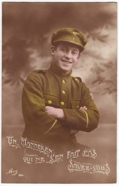 French postcard - WWI soldier in uniform - Antique hand tinted postcard - 1910's…