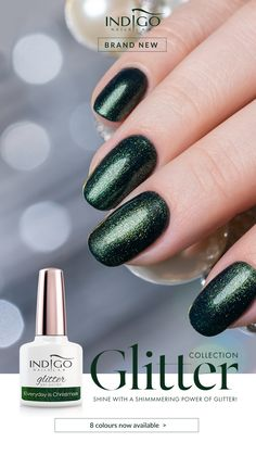 Everyday is Christmas – a shade of a Christmas tree sprinkled with glitter - perfect not only for the Christmas party but for any time you want to feel special. Mermaid Effect, Nail Lab, Gel Polish Manicure, Indigo Nails, Nail Effects, Green Glitter, Ireland, Christmas Tree, Party