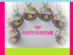 24 ROLLER SKATING SKATE skates skate party zebra print bottlecap party favors keychains zipper pulls goody loot bags
