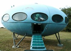 Spaceship house 10. Futuro flying saucer home, by Matti Suuronen.  This one is at the Outer Banks, near Okracoke Island.  It used to be a hot dog stand.